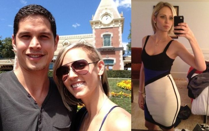 A collage of Emily Frlekin and Husband J.D. Pardo.