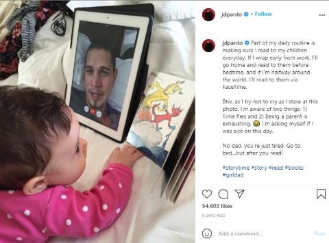 A snapshot of J.D. Pardo's Instagram post.