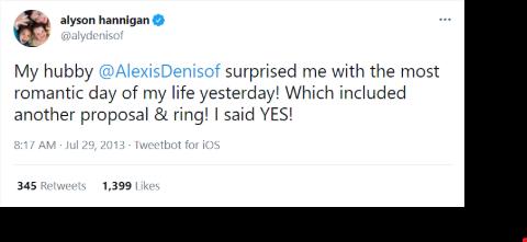Alyson Hannigan's tweet regarding her wedding vows renewal.
