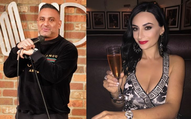 A collage of Russel Peters and his ex-fiancee, Ruzanna Khetchian.