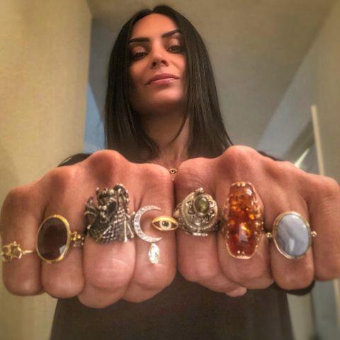 Ruzanna Khetchian showing off her jewelry.