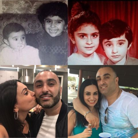 A collage of Ruzanna and her brother, Suro Khetchian.