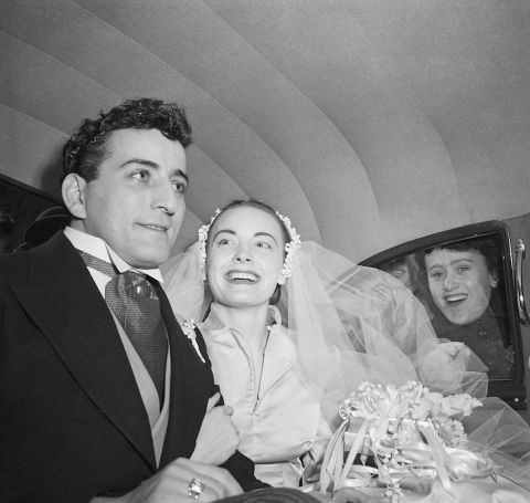 Patricia Beech on her wedding day with Tony Bennett.