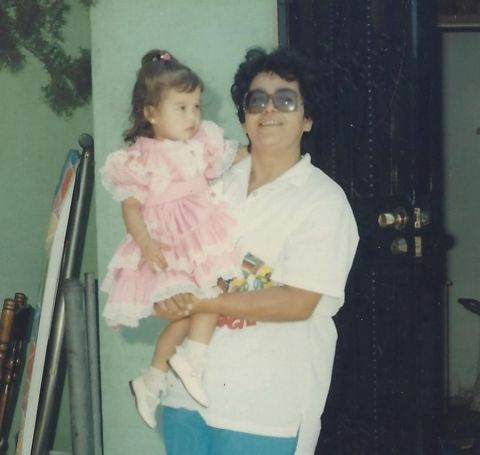 Chiquis with her grandma during childhood.