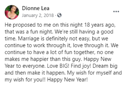Dionne's Facebook Post Snapshot.