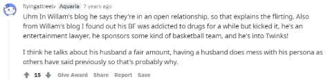 A fan says Bruce and Willam are in an open relationship.